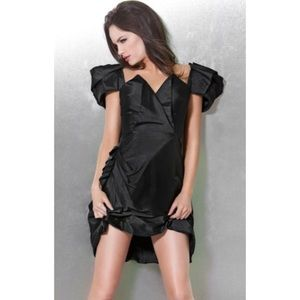 Jovani Puffy Short Sleeve Dress with Drapes 159729
